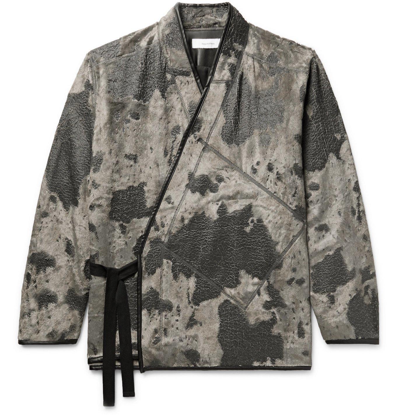 Photo: Sasquatchfabrix. - Holstein Faux Leather-Trimmed Textured Velour Jacket - Black