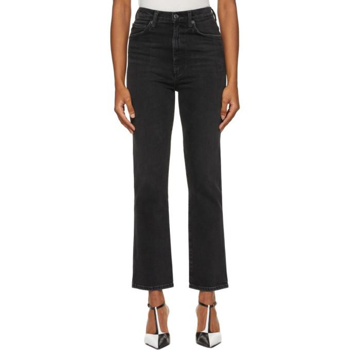 Photo: AGOLDE Black Pinch Waist High-Rise Kick Jeans