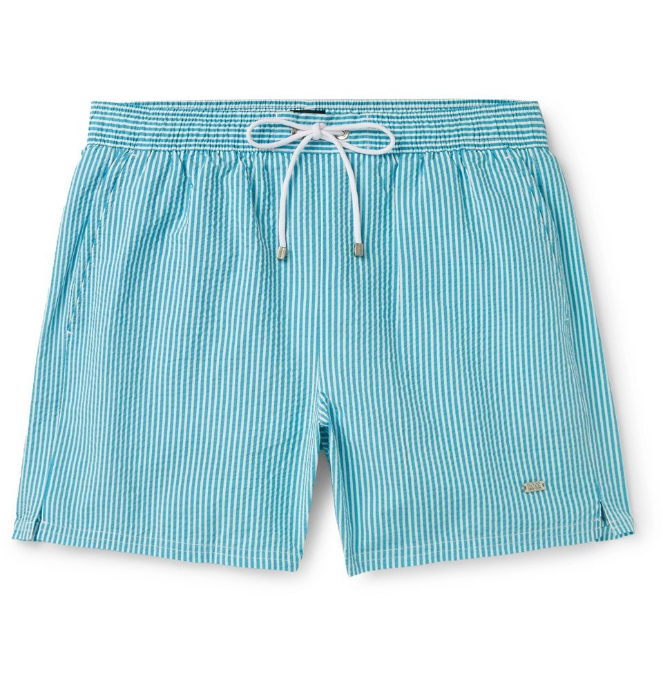 Photo: Hugo Boss - Mid-Length Striped Seersucker Swim Shorts - Blue