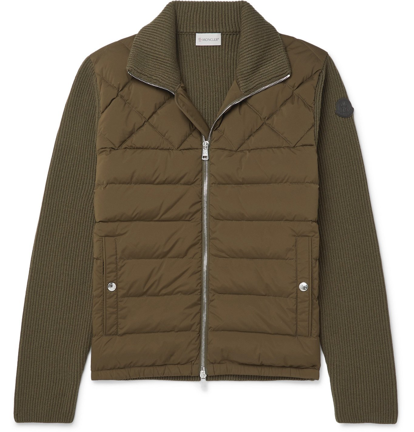 Photo: Moncler - Panelled Wool-Blend and Quilted Shell Down Bomber Jacket - Green