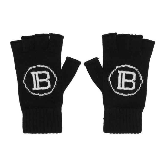 Photo: Balmain Black Logo Fingerless Gloves