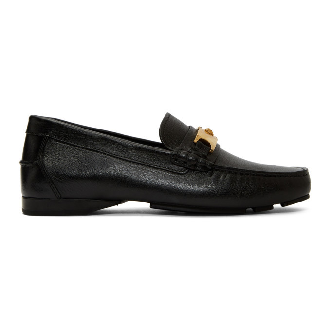 Photo: Versace Black Medusa Buckle Loafers