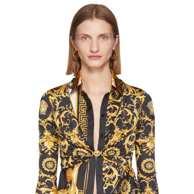 Versace Gold Horseshoe Hoop Earrings