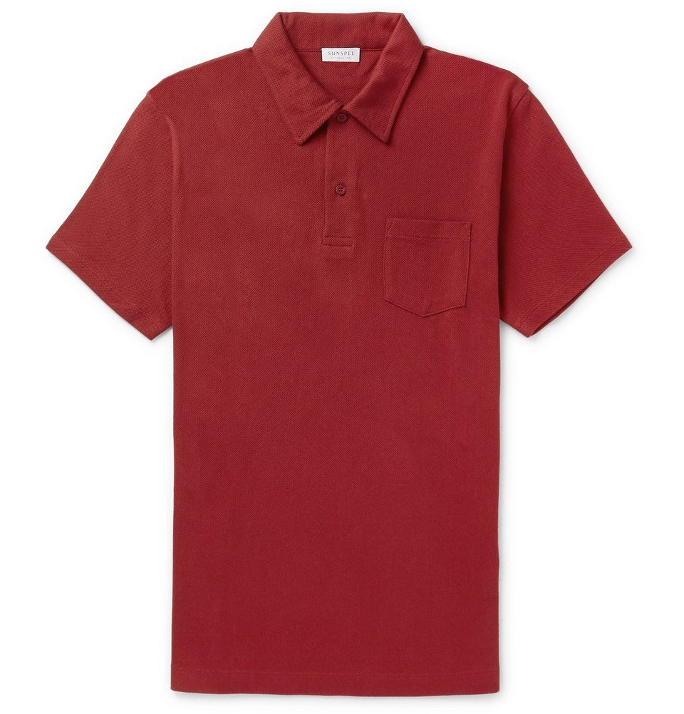 Photo: Sunspel - Riviera Slim-Fit Cotton-Mesh Polo Shirt - Men - Red
