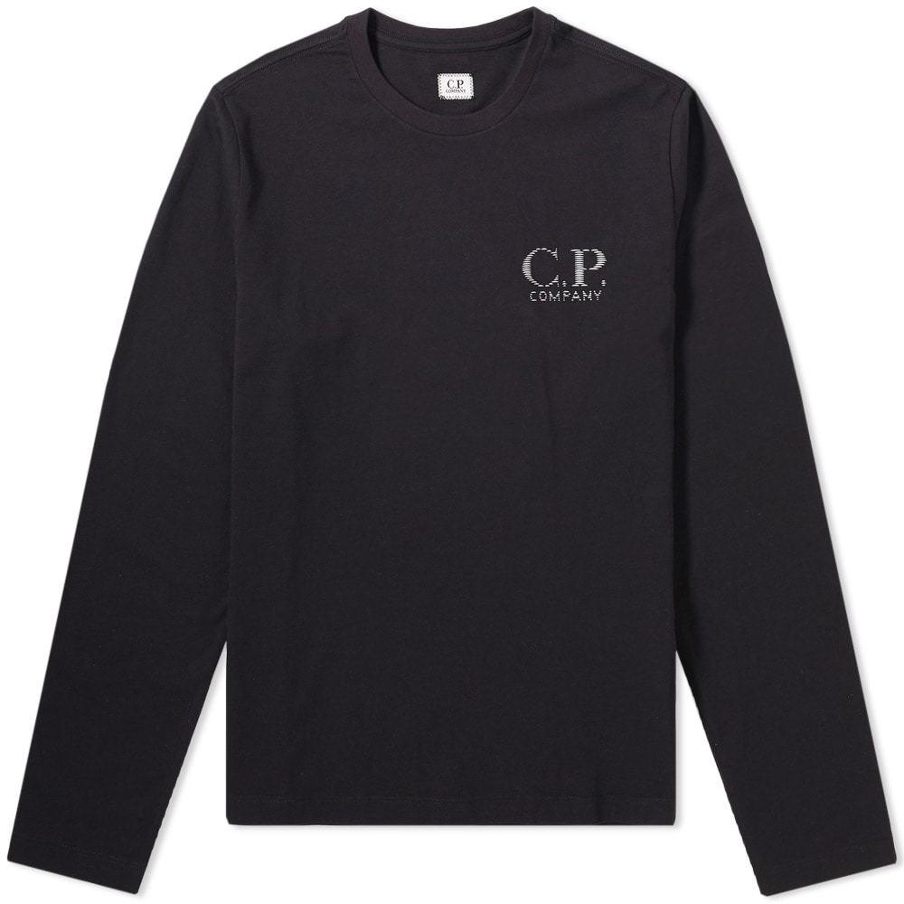 C.P. Company Long Sleeve Reflective Logo Tee Black