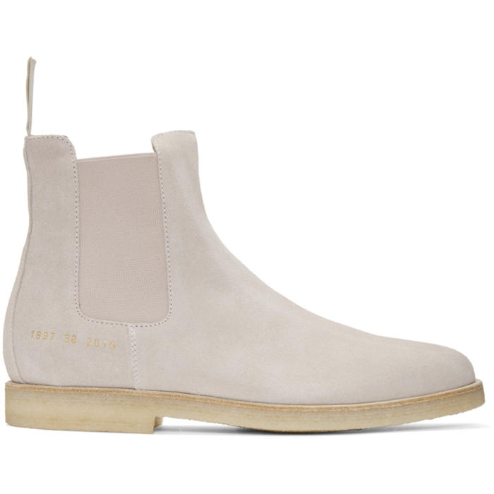 Common Projects Pink Suede Chelsea Boots