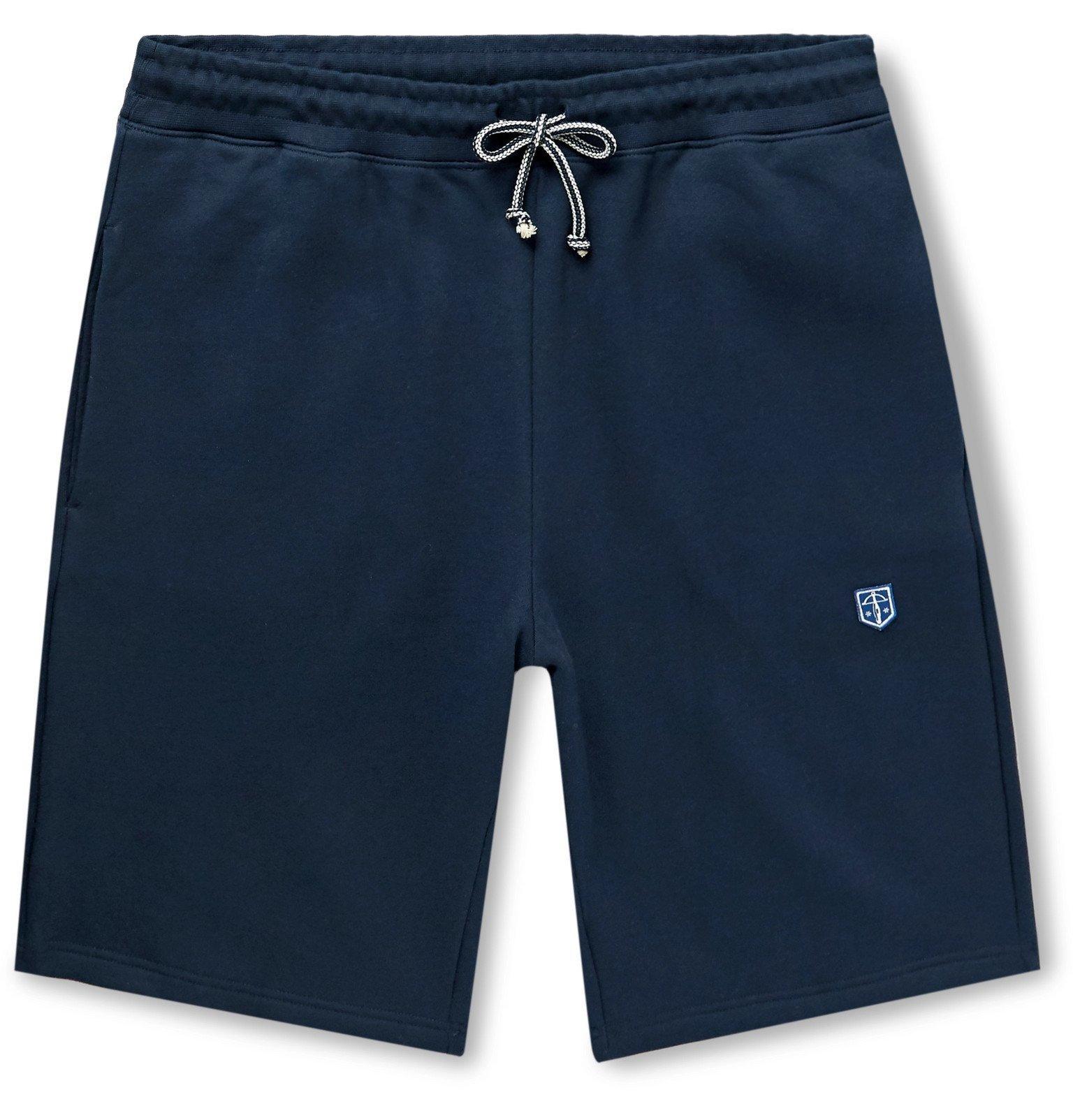 Photo: Schiesser - Vincent Slim-Fit Fleece-Back Cotton-Jersey Drawstring Shorts - Blue