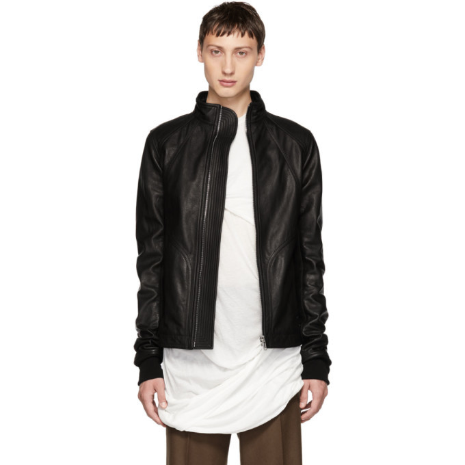 Photo: Rick Owens Black Leather Intarsia High Neck Jacket