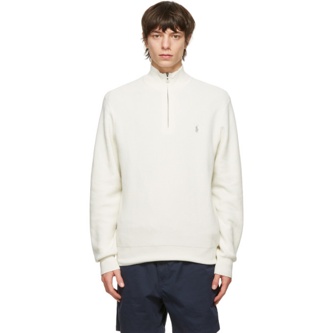 Photo: Polo Ralph Lauren Off-White Cotton Mesh Quarter-Zip Sweater
