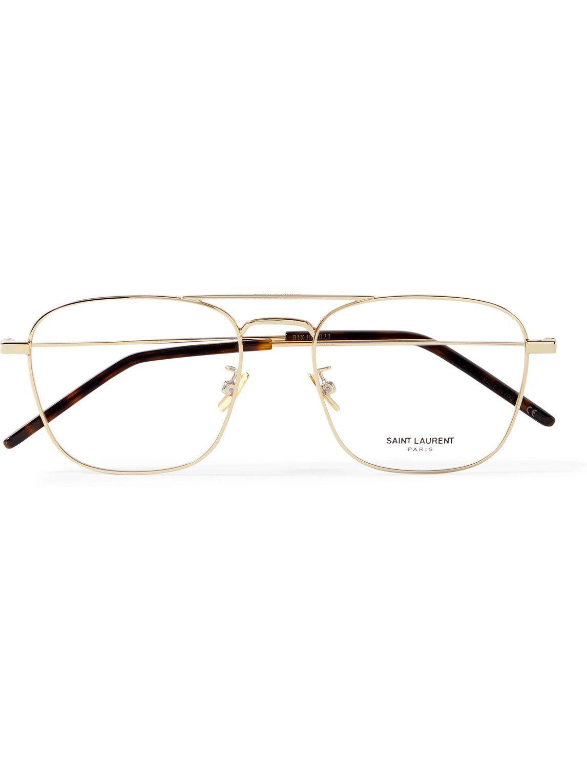 Photo: SAINT LAURENT - Aviator-Style Gold-Tone Optical Glasses