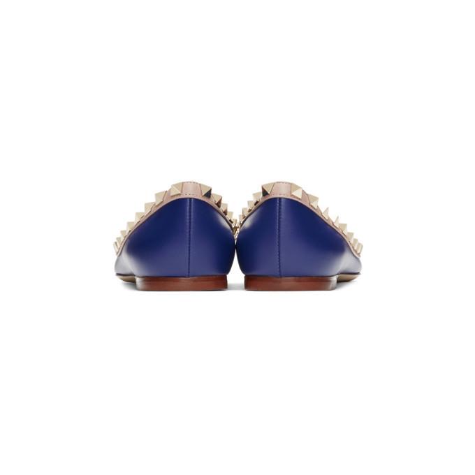Valentino Navy Valentino Garavani Rockstud Ballerina Flats