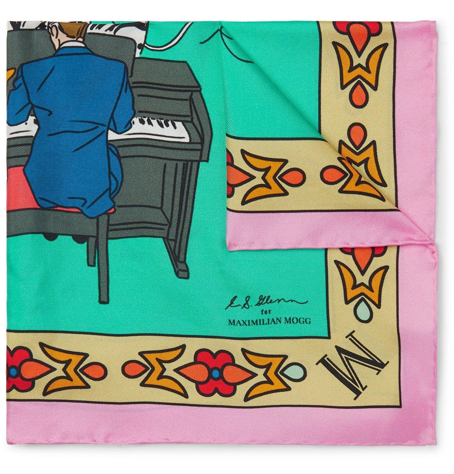 Photo: Maximilian Mogg - Printed Silk-Twill Pocket Square - Blue