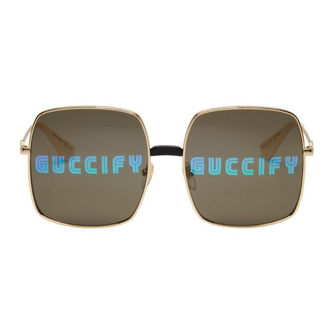 Photo: Gucci Gold Oversized Rectangular Sunglasses