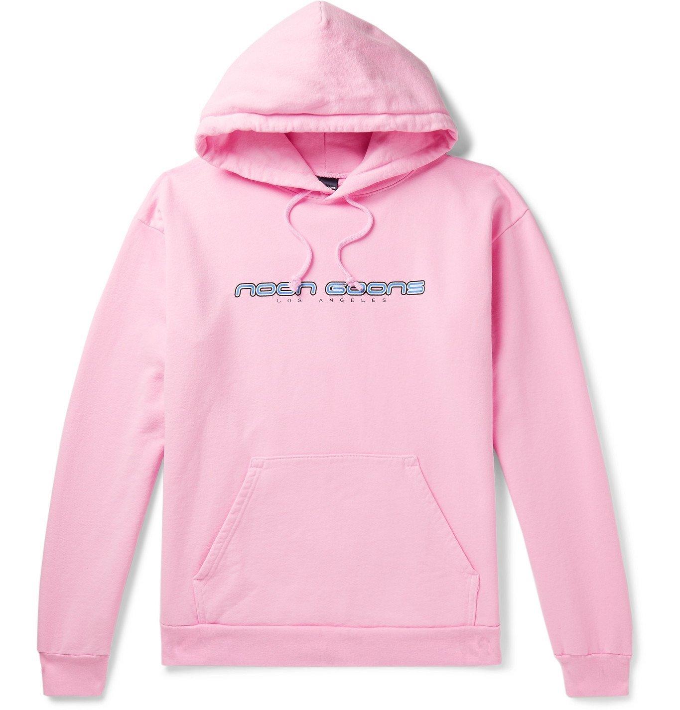 Photo: Noon Goons - Printed Fleece-Back Cotton-Jersey Hoodie - Pink