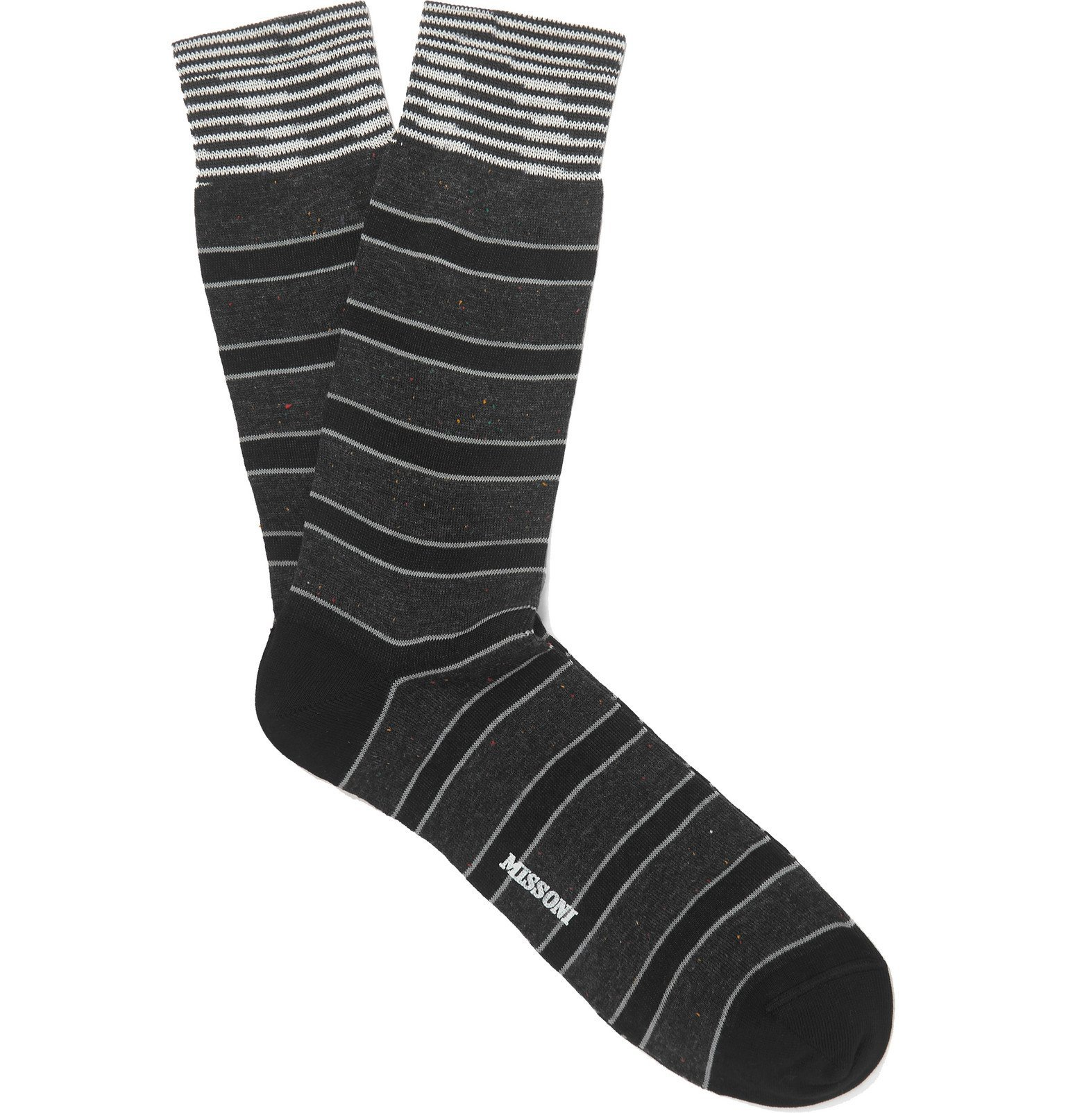 Photo: Missoni - Striped Cotton-Blend Jacquard Socks - Black