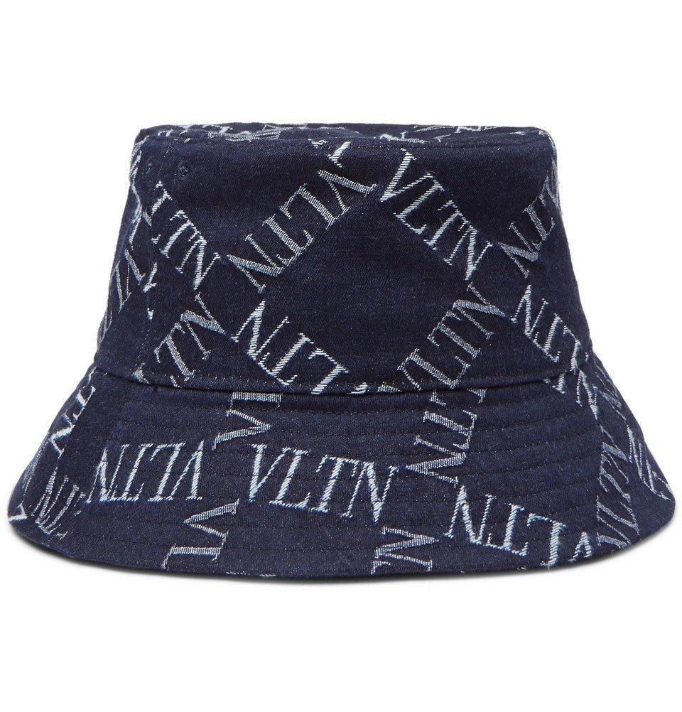 Photo: Valentino - Valentino Garavani Logo-Print Denim Bucket Hat - Navy