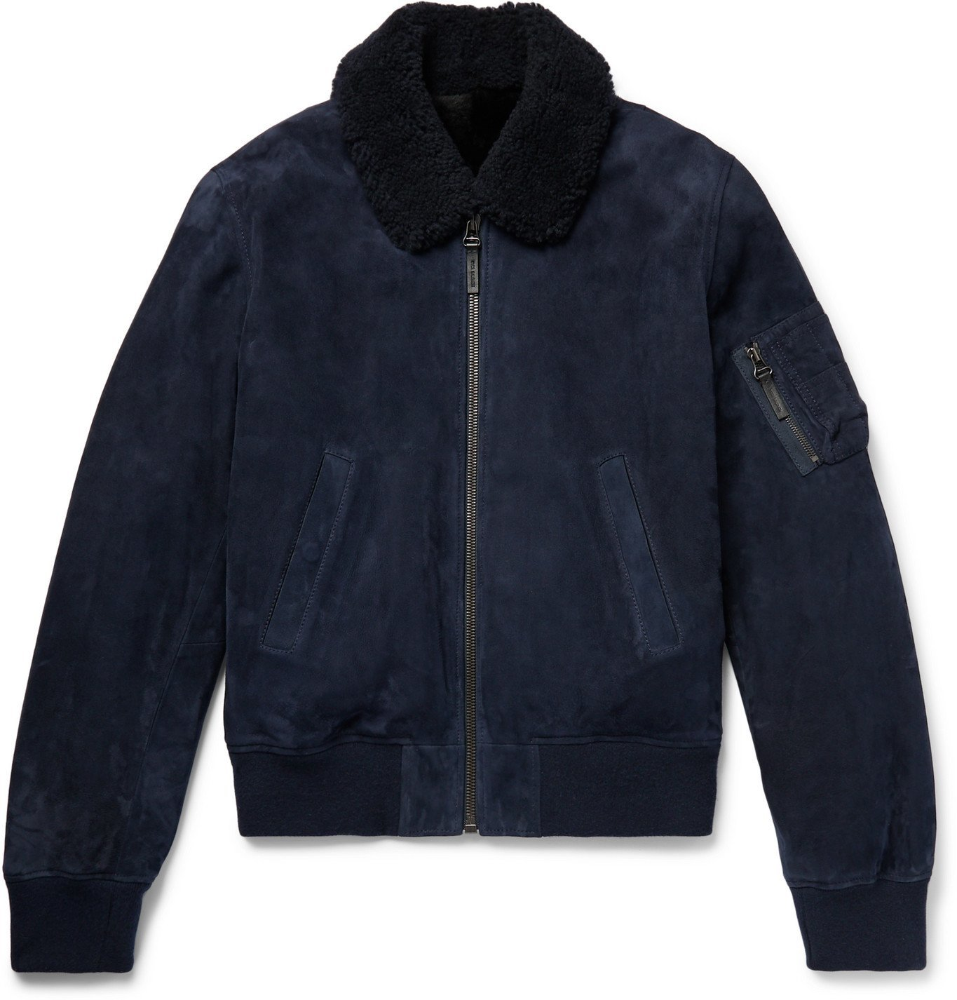 Photo: Yves Salomon - Shearling-Lined Suede Down Bomber Jacket - Blue