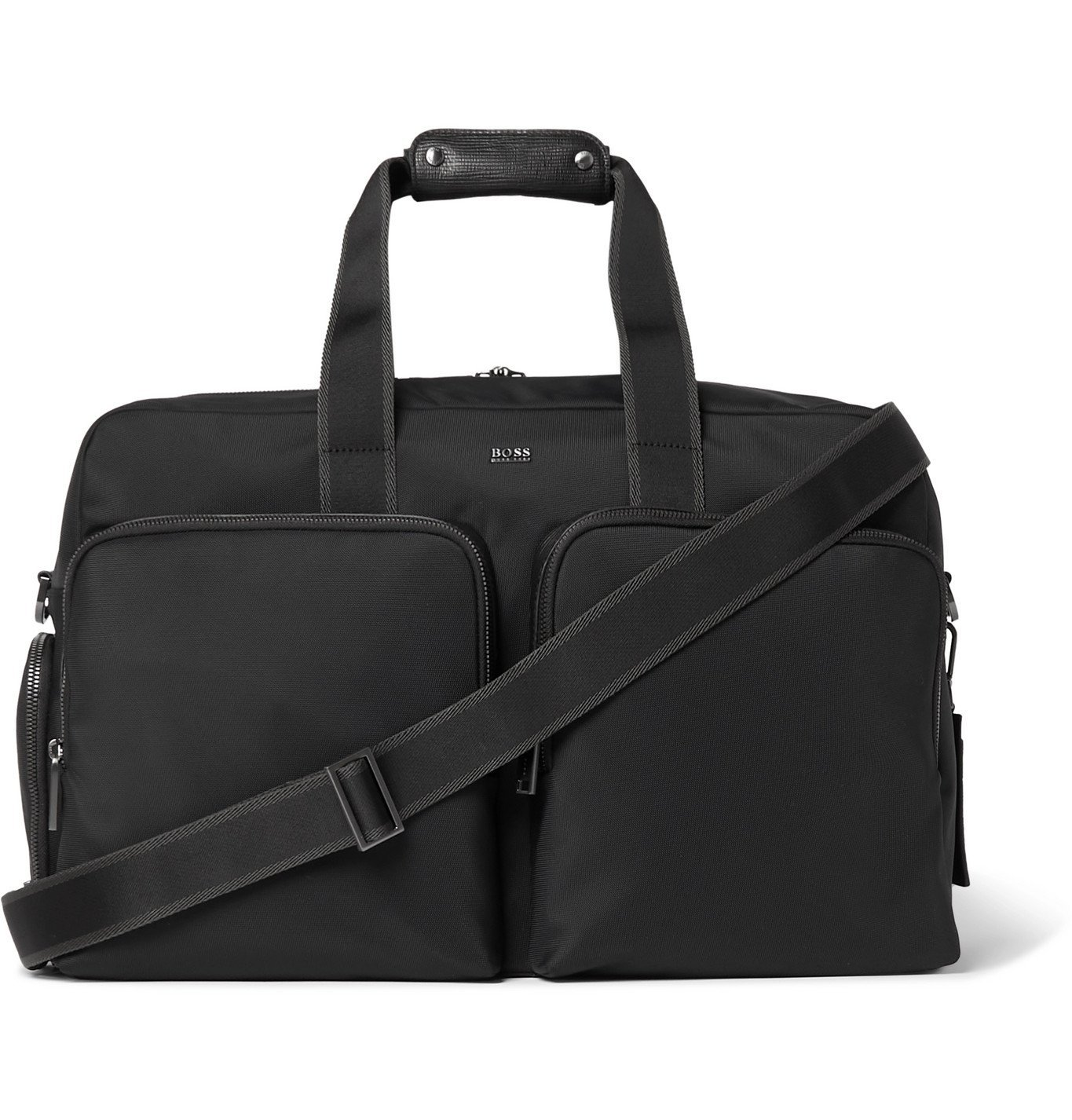 HUGO BOSS - Textured Leather-Trimmed Shell Holdall - Black