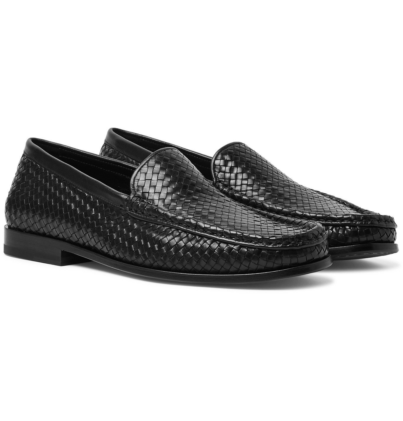 Photo: J.M. Weston - Collapsible-Heel Woven Leather Loafers - Black