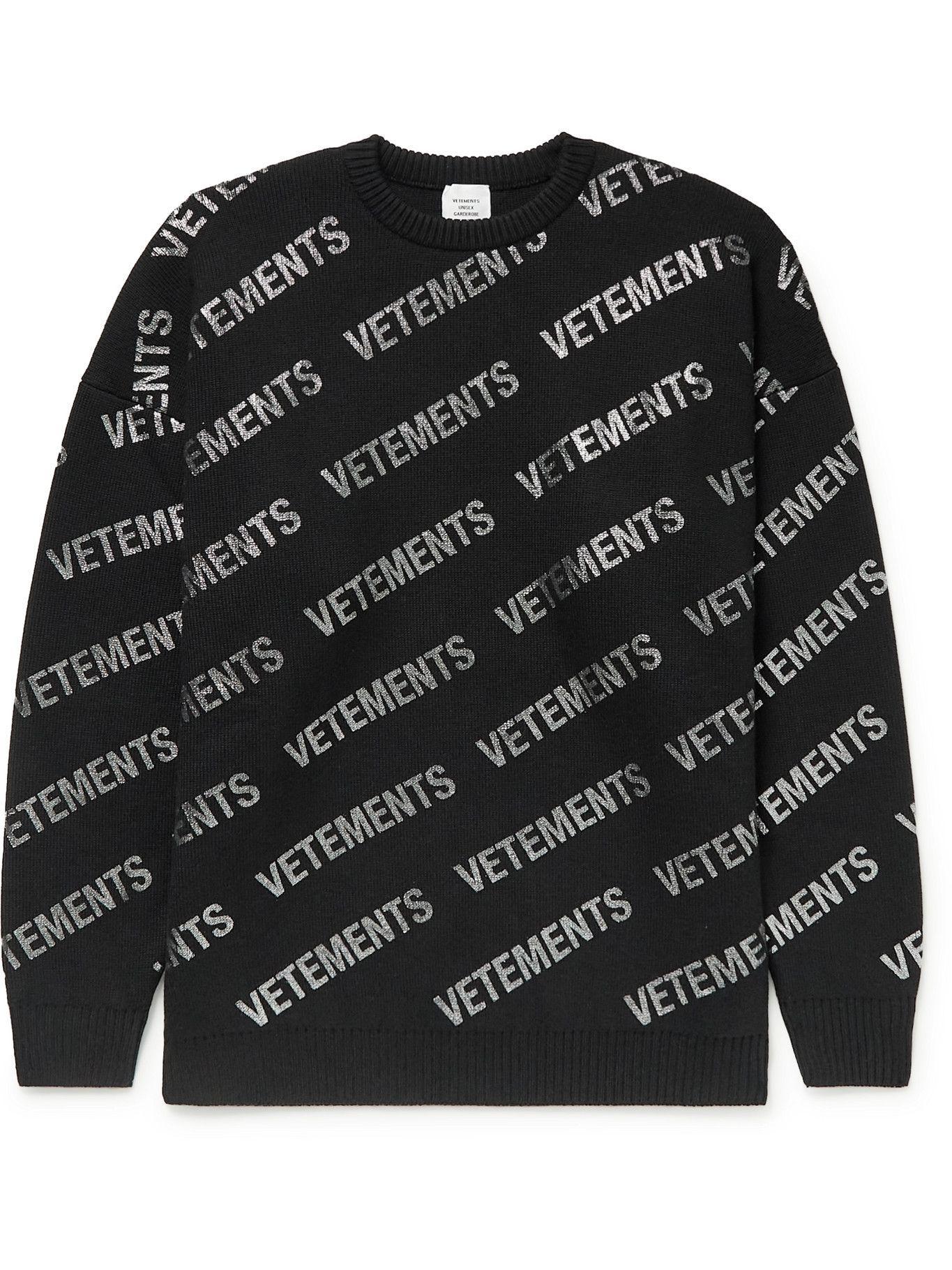 Photo: Vetements - Logo-Print Merino Wool Sweater - Black