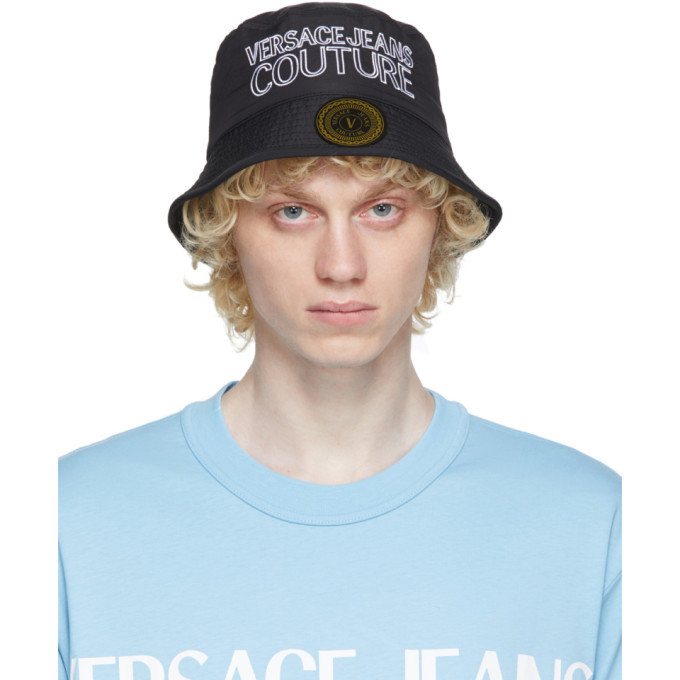 Photo: Versace Jeans Couture Black and White Embroidered Logo Bucket Hat