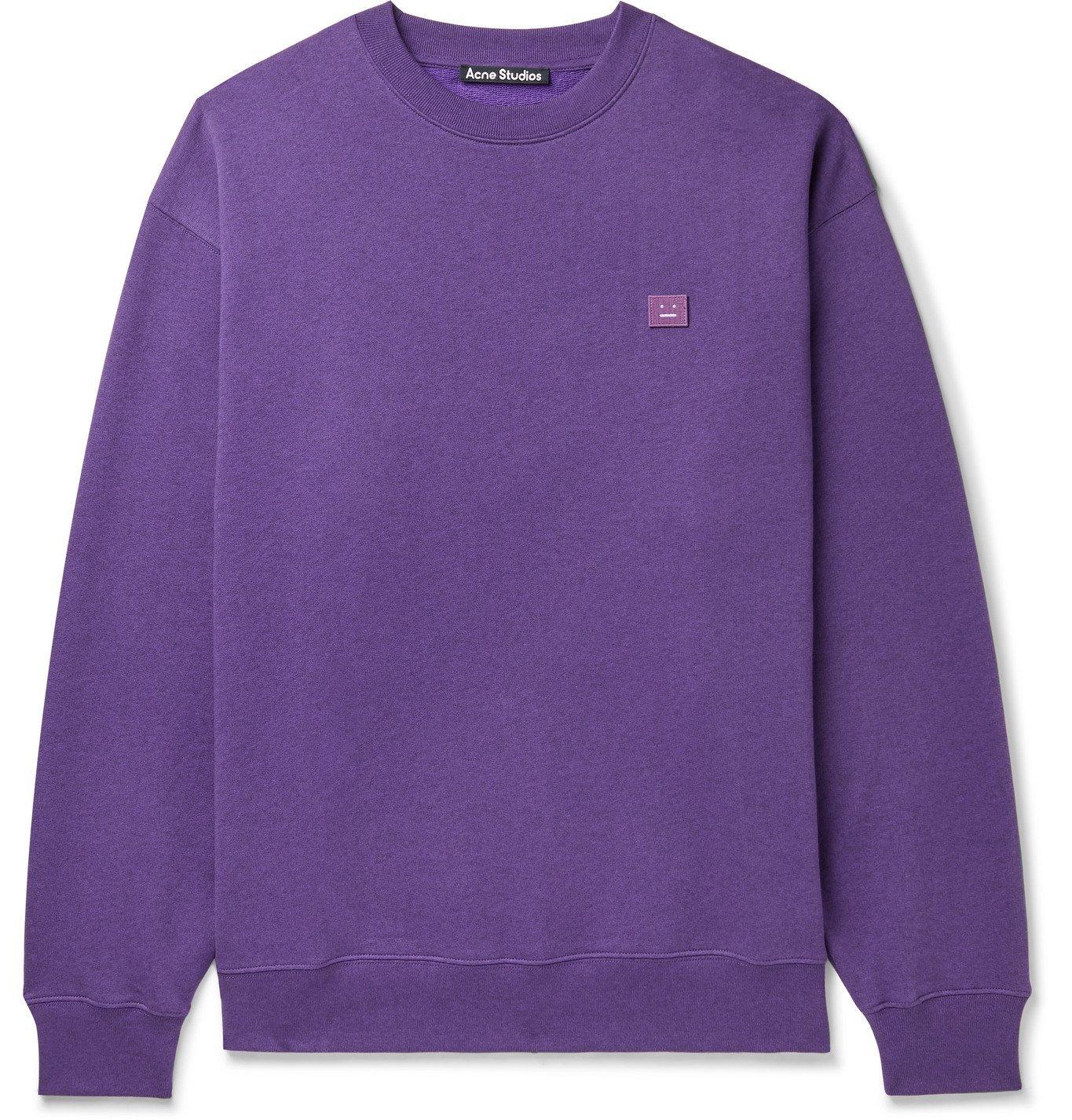 Photo: ACNE STUDIOS - Forba Oversized Logo-Appliquéd Mélange Loopback Cotton-Jersey Sweatshirt - Purple