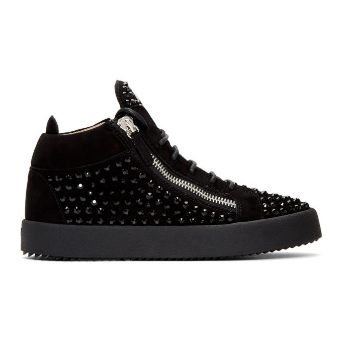 Photo: Giuseppe Zanotti Black Suede Kriss Diamond High-Top Sneakers