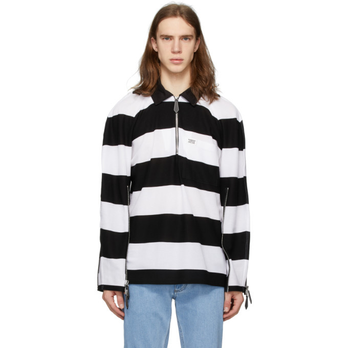 Photo: Burberry Black and White Striped Zip Detail Polo