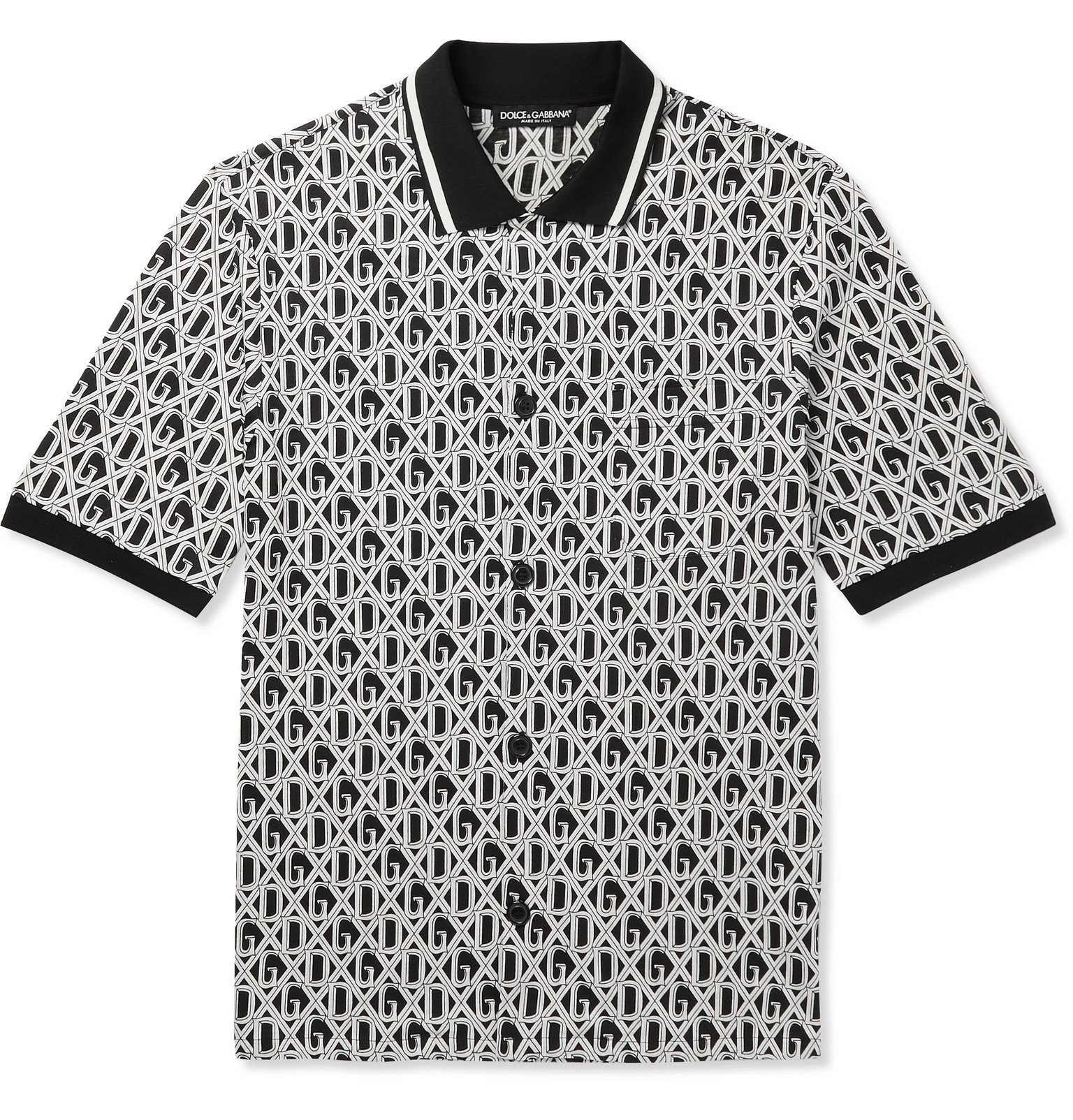 Photo: Dolce & Gabbana - Slim-Fit Logo-Print Cotton-Jersey Shirt - Black
