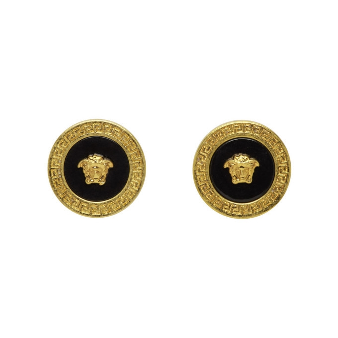 Photo: Versace Gold and Black Resin Medusa Stud Earrings