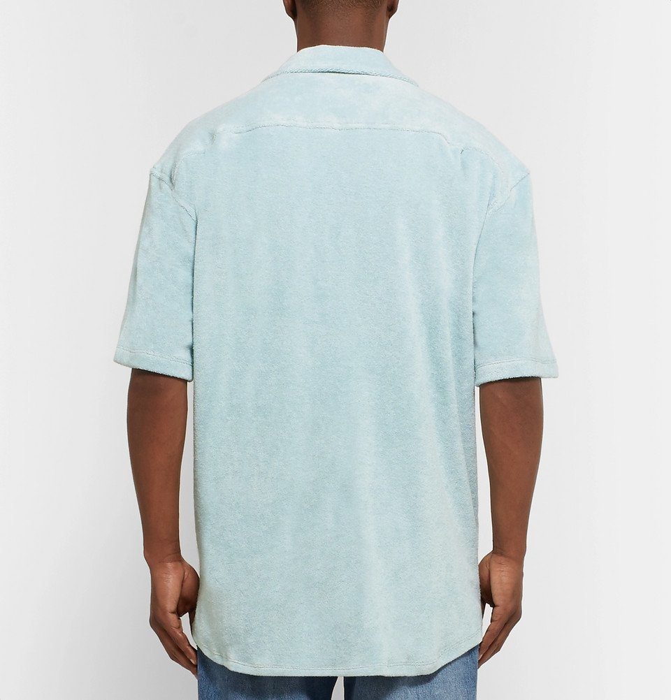 The Elder Statesman - Camp-Collar Cotton-Terry Shirt - Sky blue