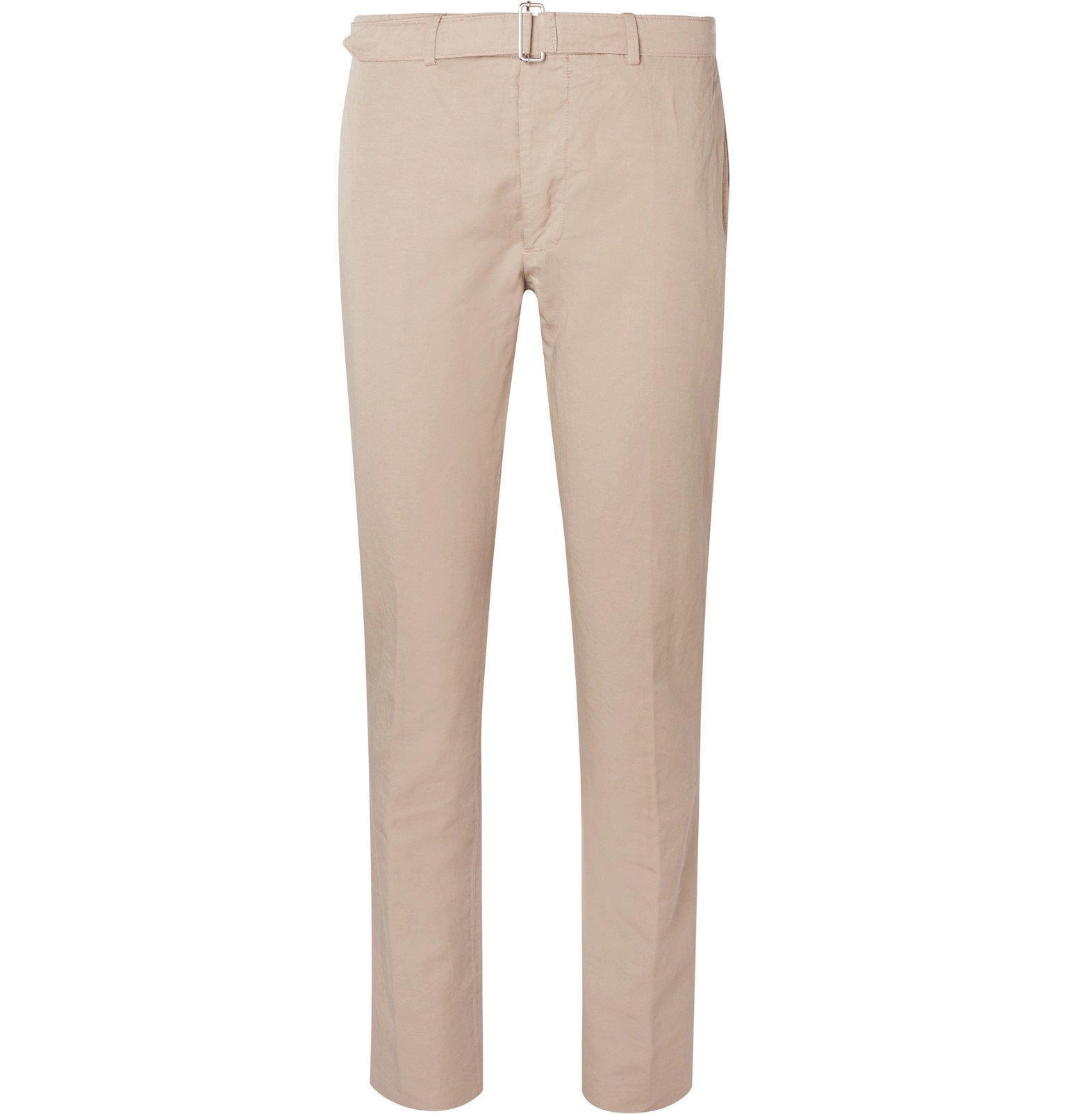 Photo: Officine Generale - Paul Slim-Fit Belted Garment-Dyed Cotton and Linen-Blend Suit Trousers - Neutrals
