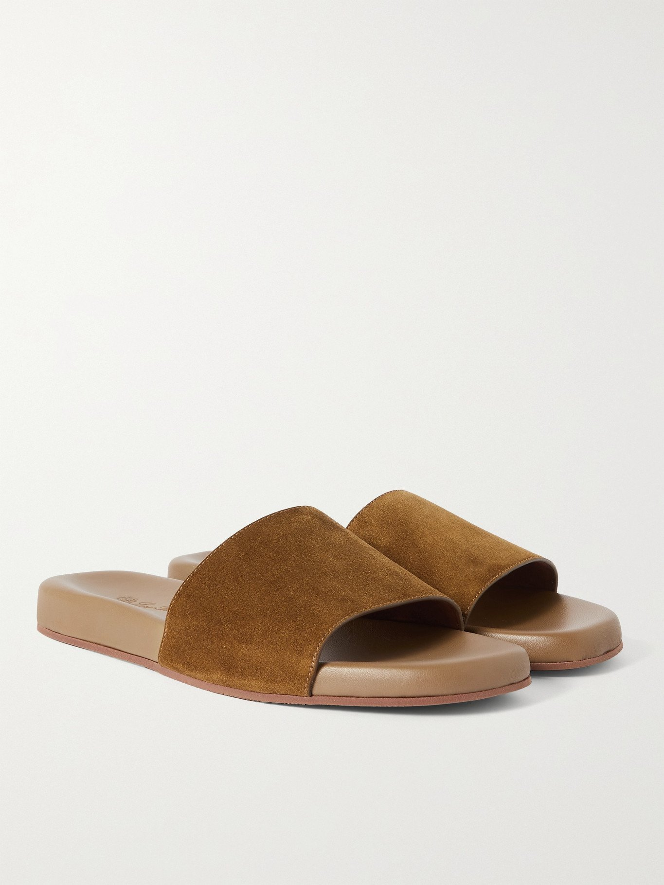 Photo: LORO PIANA - Suede Slides - Brown
