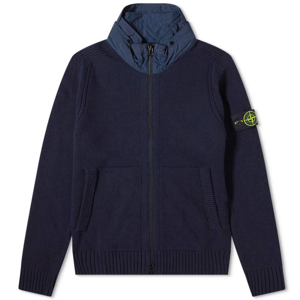 Stone Island Nylon Hood Knitted Jacket