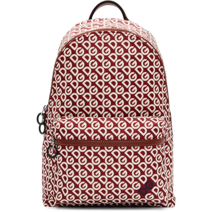 Photo: Dolce and Gabbana Burgundy and White Logo Backpack