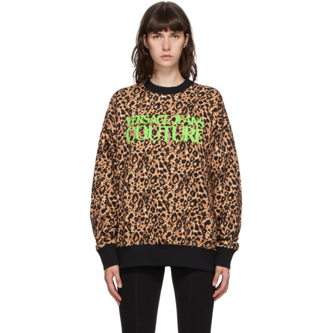 Photo: Versace Jeans Couture Beige and Black Leopard Logo Sweatshirt