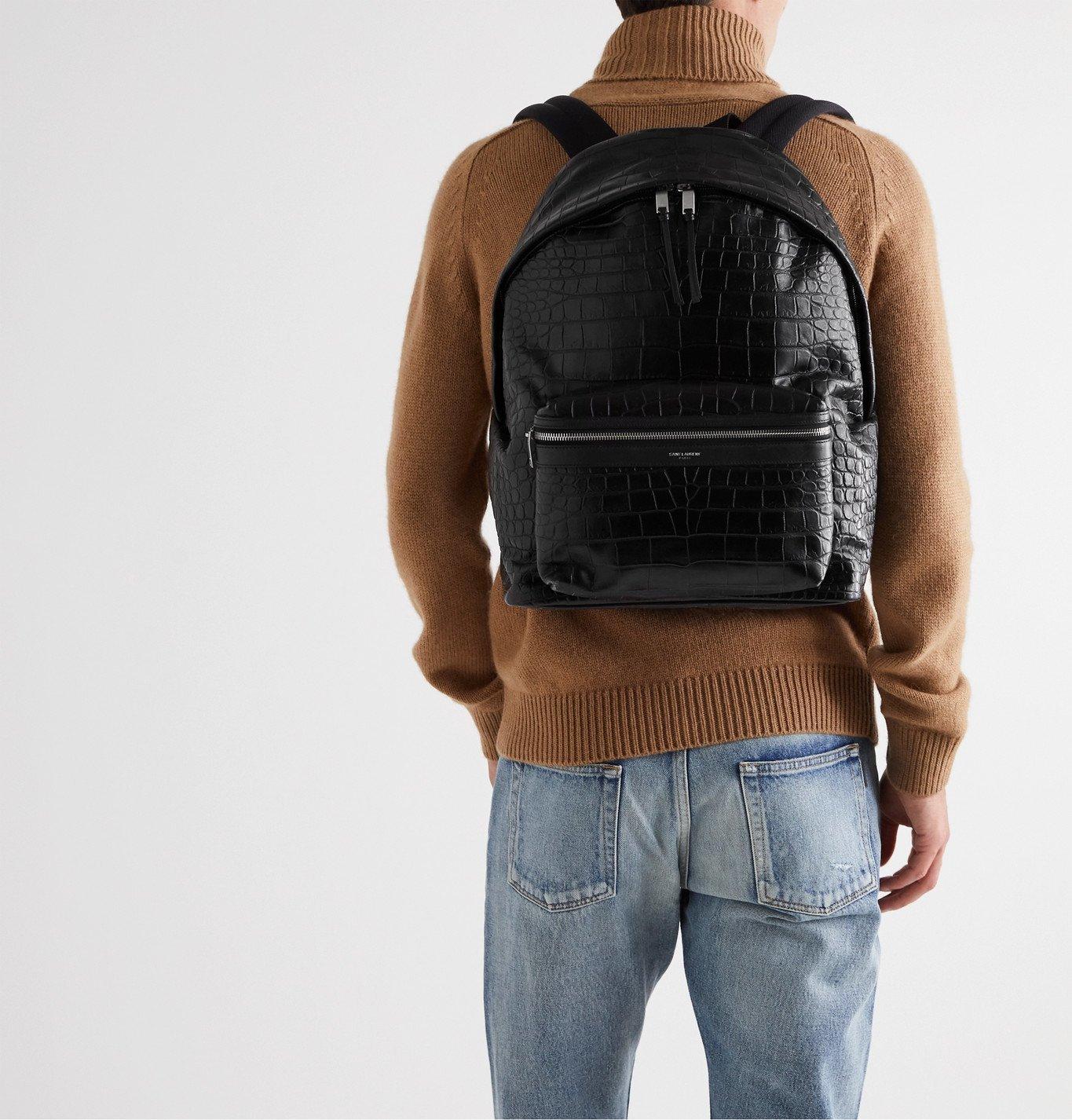 SAINT LAURENT - City Croc-Effect Leather Backpack - Black