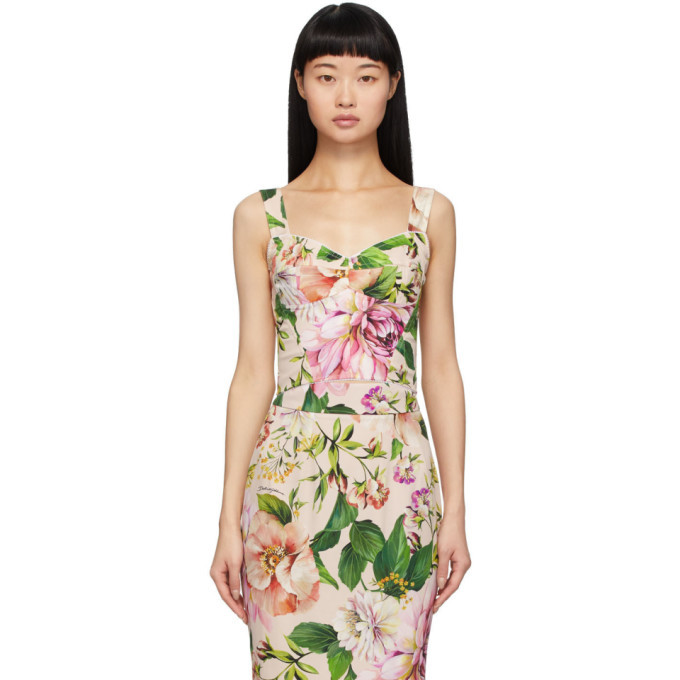 Photo: Dolce and Gabbana Pink Floral Charmeuse Tank Top