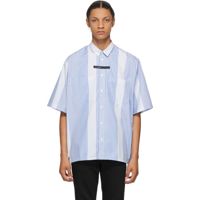 Photo: Givenchy Blue and White Stripe Oversized Short Sleeve Shirt