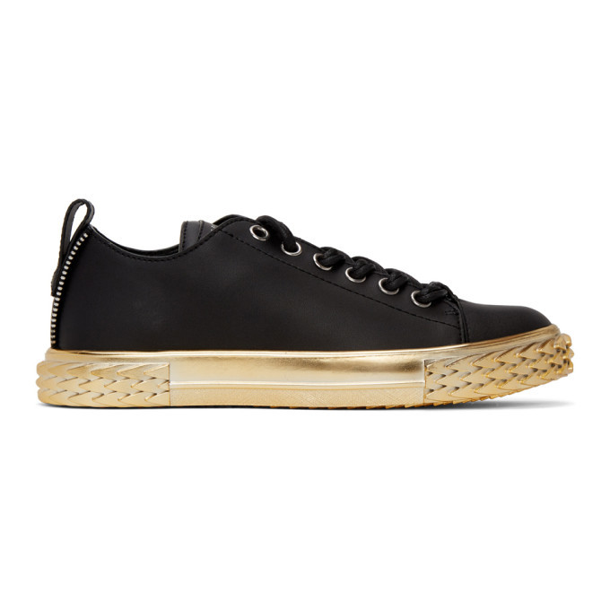 Photo: Giuseppe Zanotti Black and Gold Moxie Blabber Sneakers