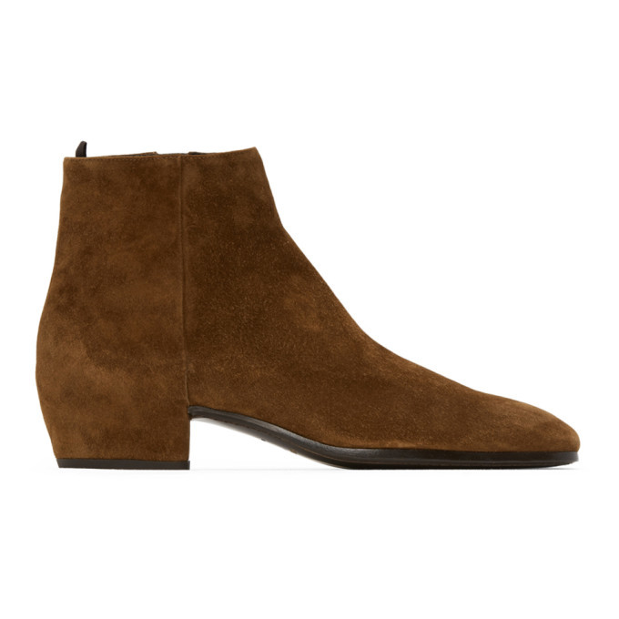 Photo: Saint Laurent Tan Suede Caleb Boots