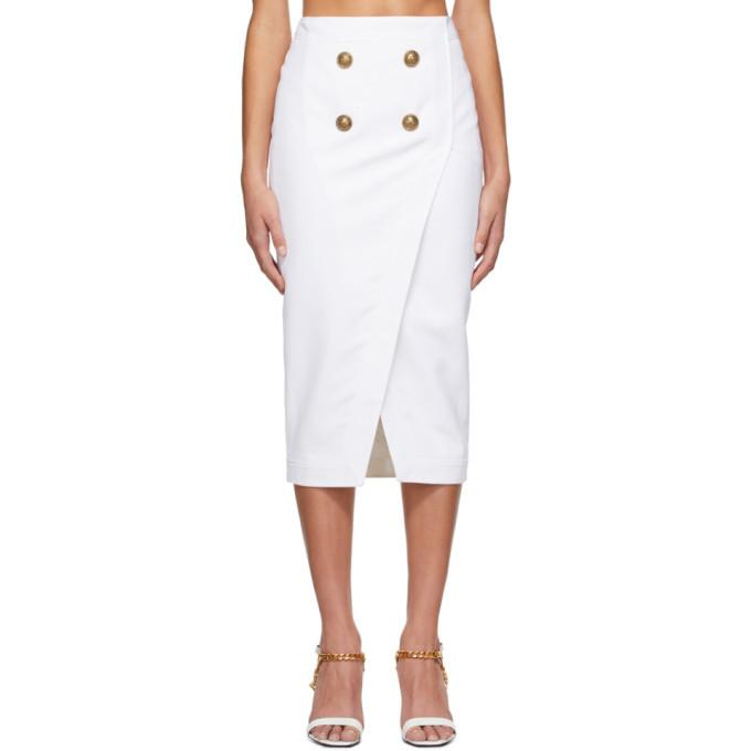 Photo: Balmain White Serge Wrap Skirt