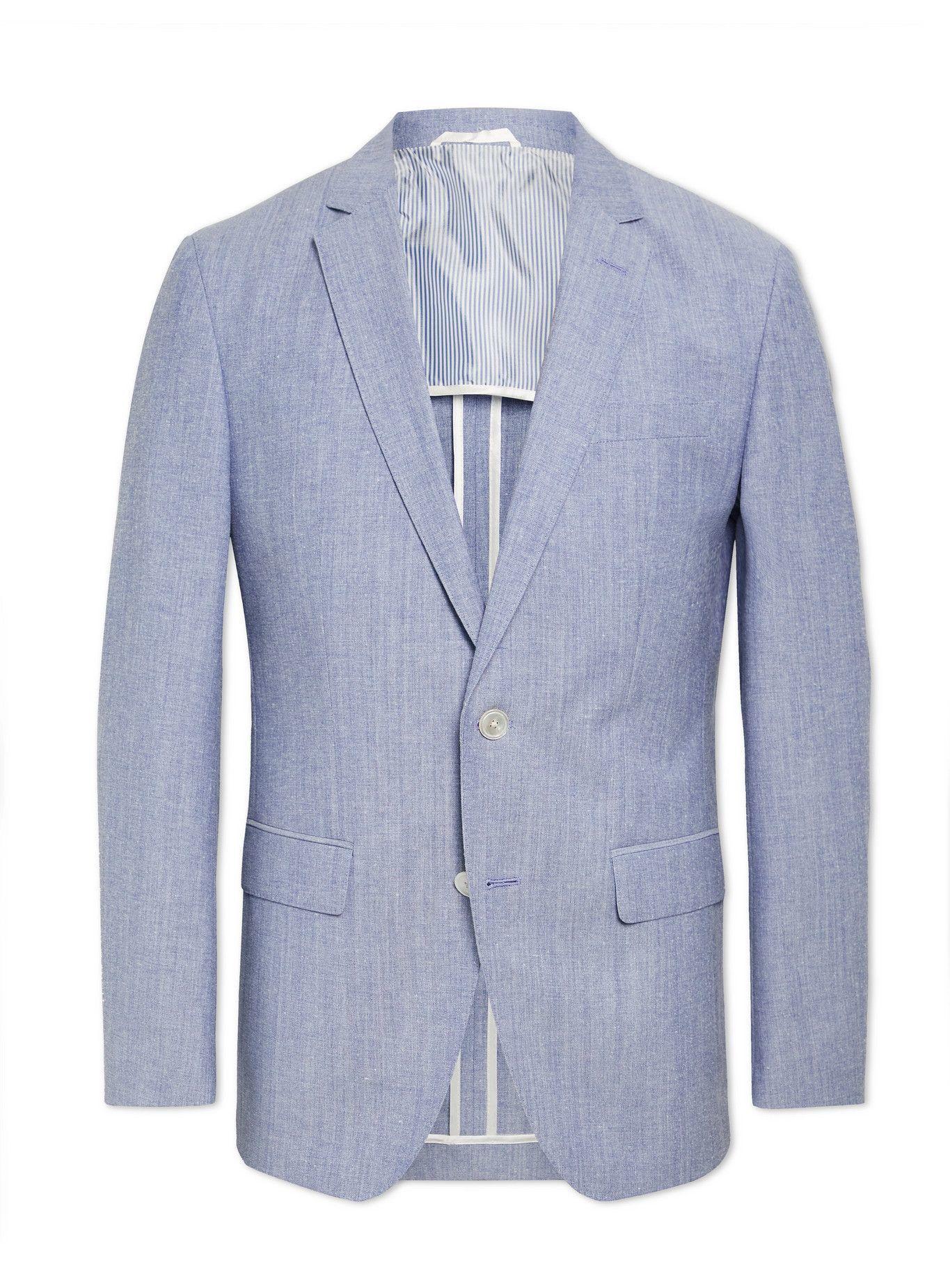 Photo: HUGO BOSS - Hartlay2 Slim-Fit Mélange Cotton and Virgin Wool-Blend Suit Jacket - Blue