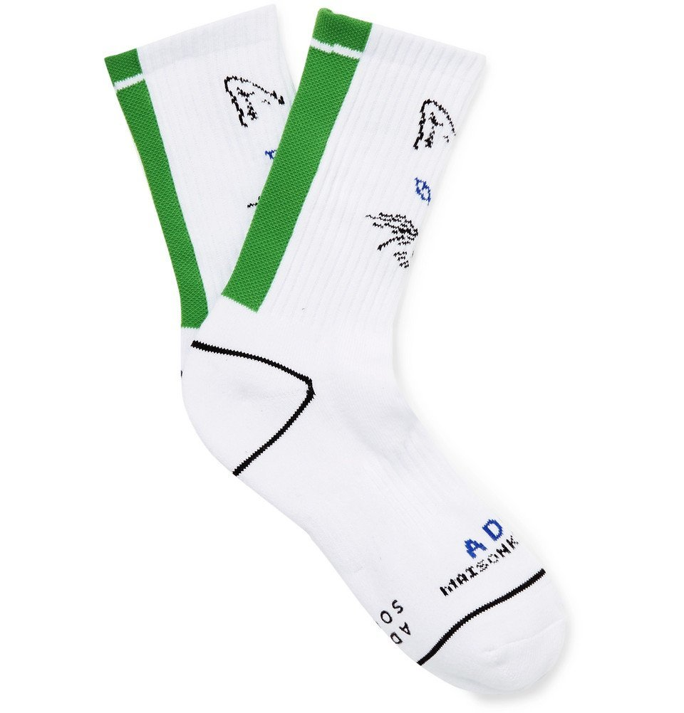 Photo: Maison Kitsuné - ADER error Logo-Intarsia Cotton Socks - White