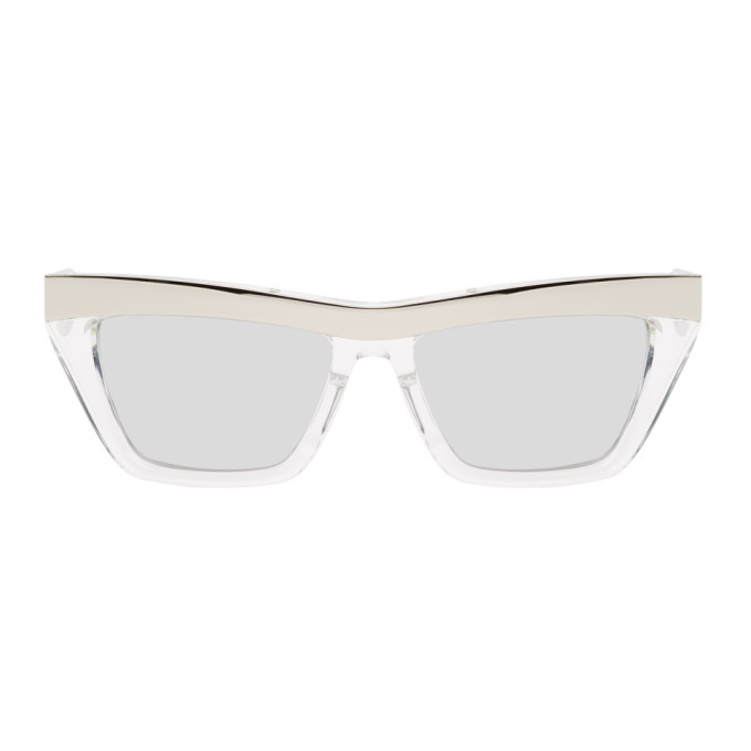 Photo: Bottega Veneta Silver Rectangular Sunglasses