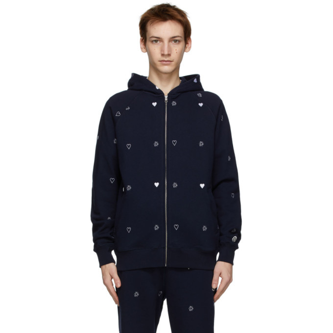 Photo: Billionaire Boys Club Navy Heart and Mind Monogram Zip-Up Hoodie