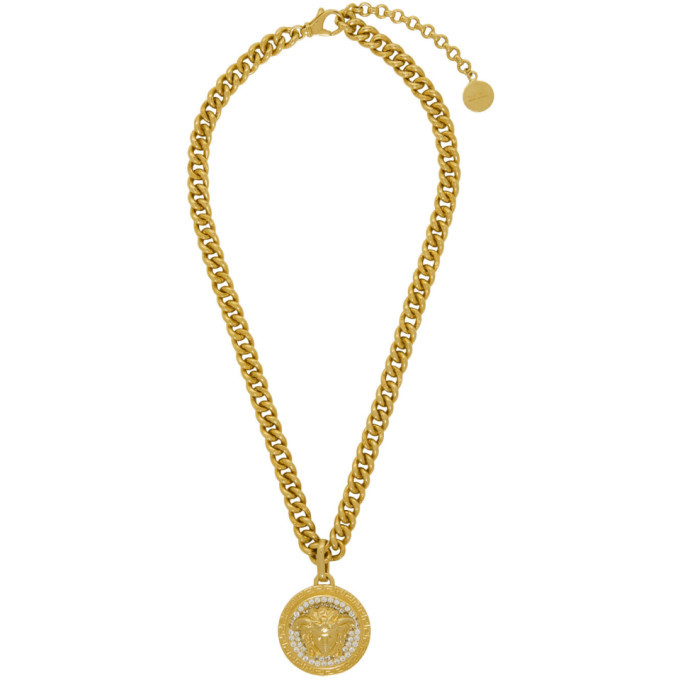 Photo: Versace Gold Large Medusa Crystal Chain Necklace