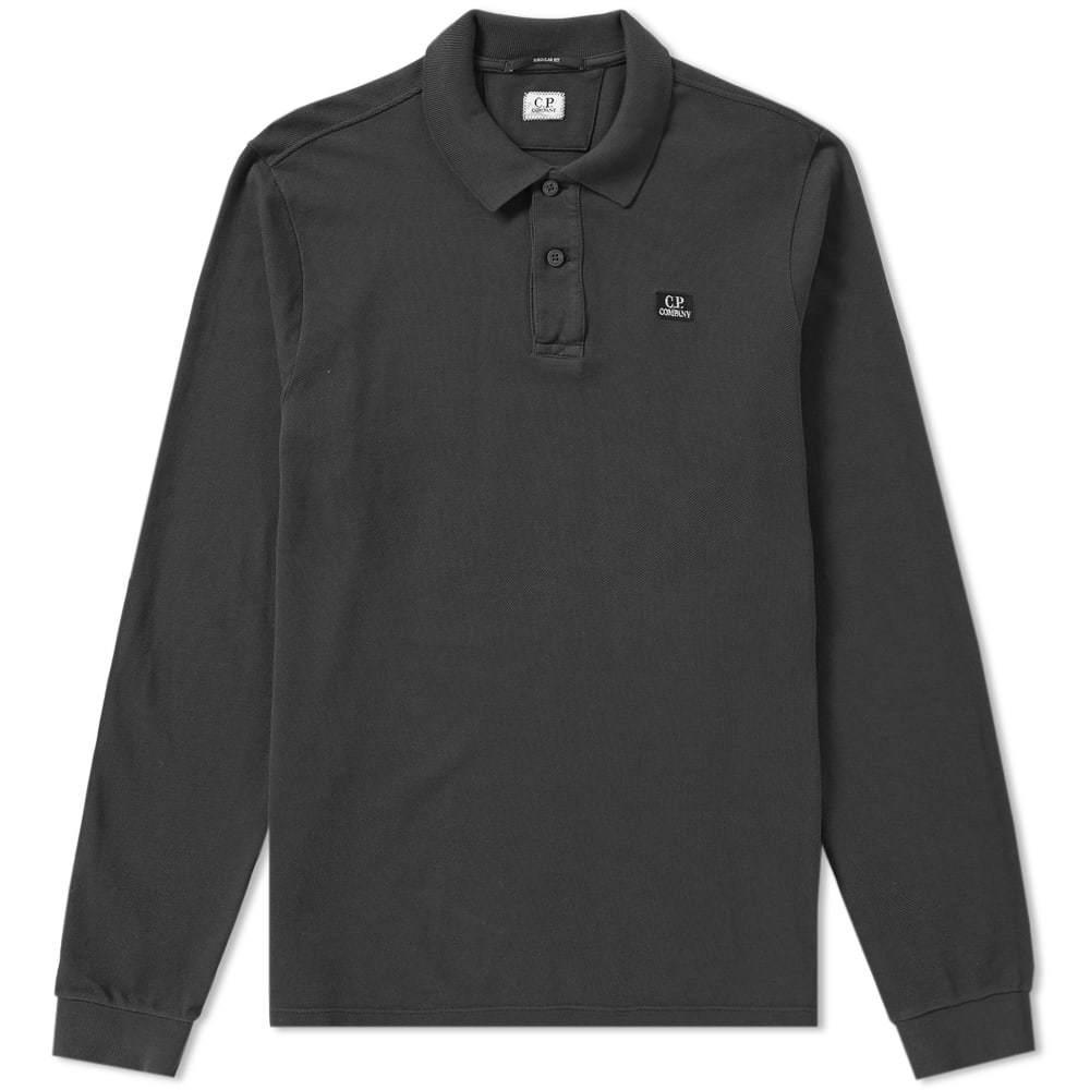 C.P. Company Long Sleeve Patch Logo Polo Black