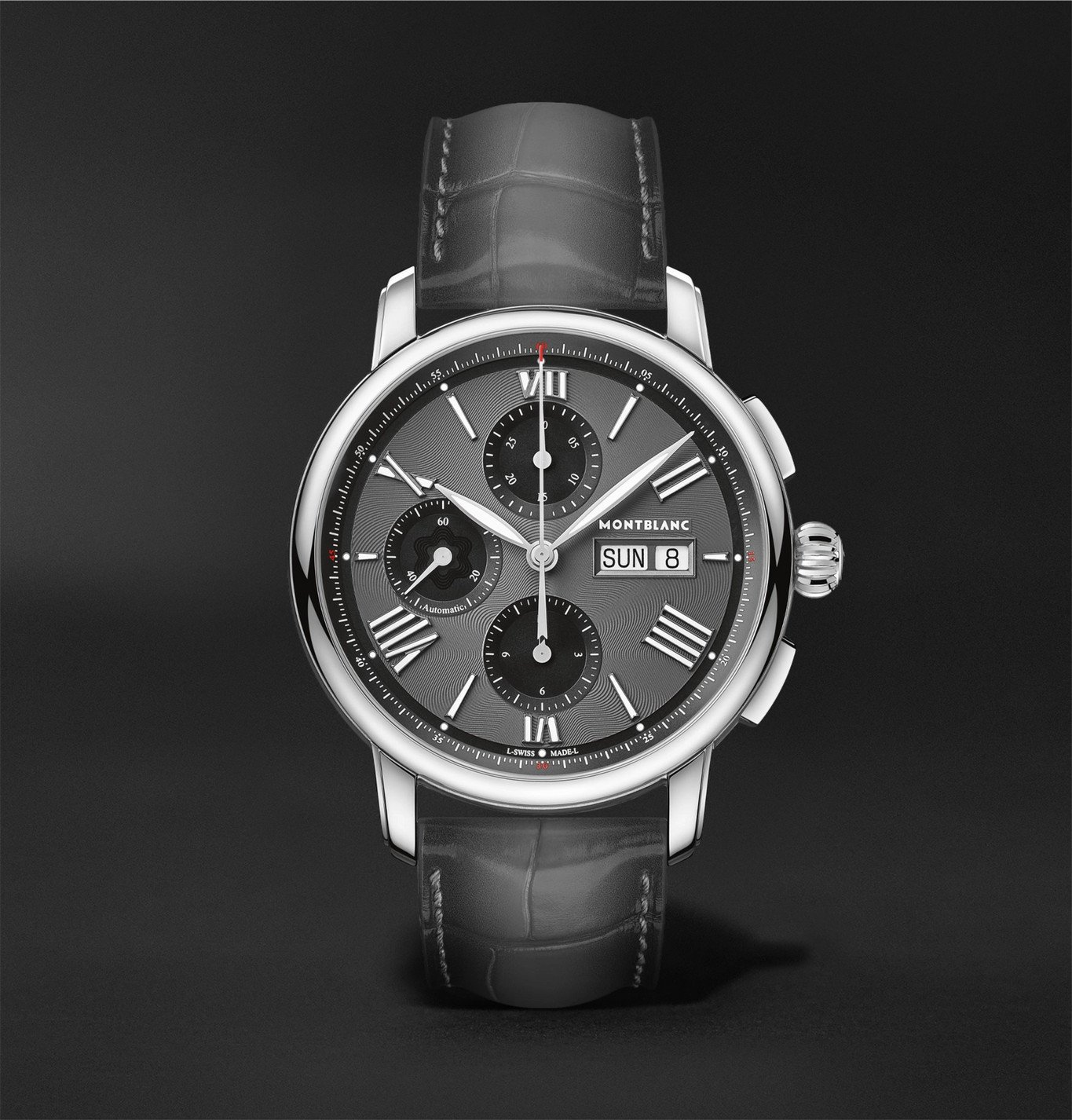 Photo: Montblanc - Star Legacy Automatic Chronograph 43mm Stainless Steel and Alligator Watch, Ref. No. 126081 - Gray