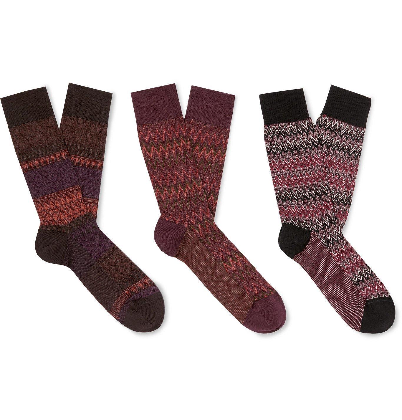 Photo: Missoni - Three-Pack Crochet-Knit Cotton-Blend Socks - Red